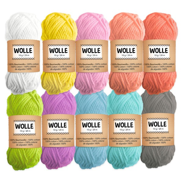 Wolle, Pastell, 10 Knaule, 29m